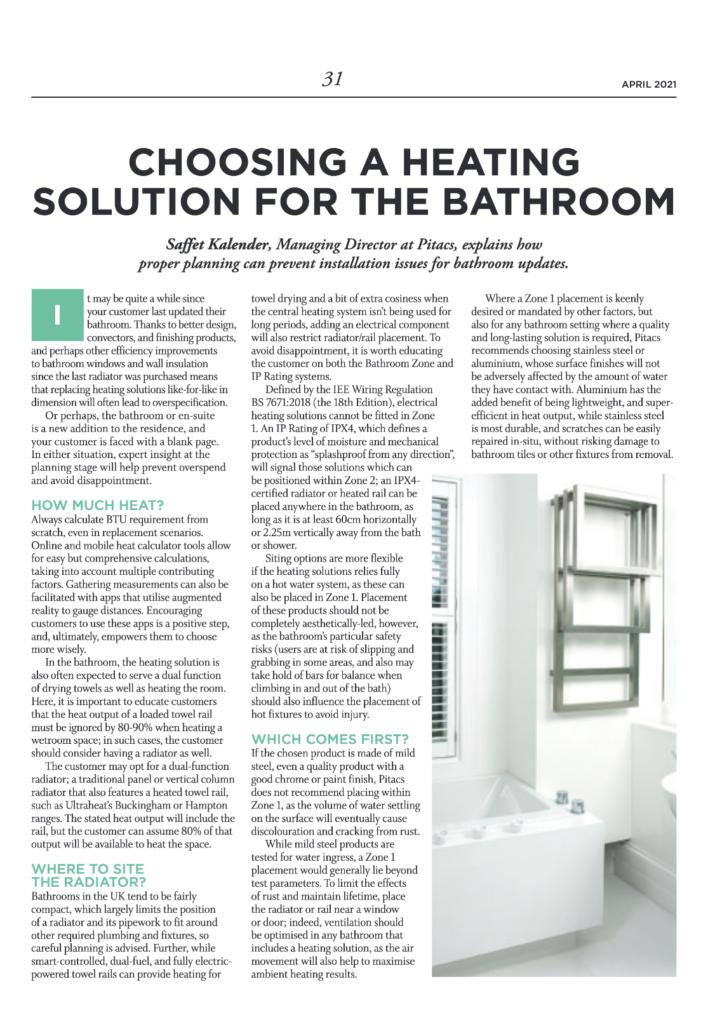 Choosing a heating solution   HVP Magazine April 2021